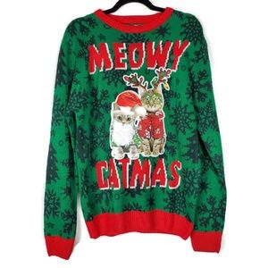 Meowy Catmas Ugly Christmas Sweater Sz Medium